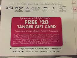 free 20 tanger outlet gift card for utah readers mail offer