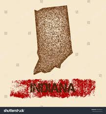 Textured Roller Paint - indiana distressed map grunge patriotic poster stock vector