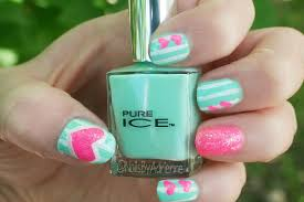 nails by adrienne notd mint green with white stripes and pink