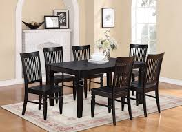 Dinette4less by Weston 7pc Size 42x60 Dining Table With 6 Wood Seat Chairs In Black