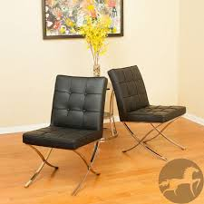 Dining Room Chairs Overstock by Milania Black Leather Dining Chairs Set Of 2 By Christopher