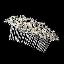 vintage hair combs vintage silver clear rhinestone bridal hair comb