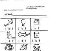 alphabet letters j k and l pre k kindergarten worksheet