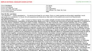 Sample Resume For Material Handler by Warehouse Material Handler Cover Letters