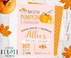 pumpkin first birthday invitation our little pumpkin is