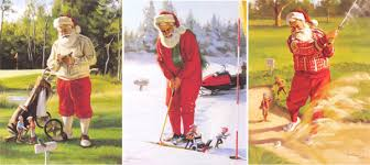 tom browning cards santa figurines golf assortment pack