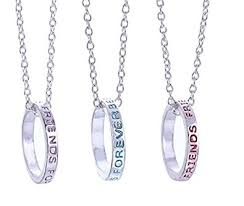 ring charms necklace images Best friends forever bff ring charms silver tone 3 in 1 pendant jpg