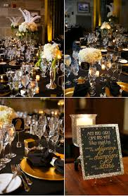 black and gold centerpieces black and gold gatsby inspired wedding