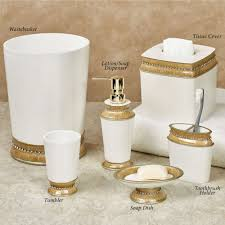 Pink Bathroom Accessories Sets by Chic Gold Trim Bath Accessories