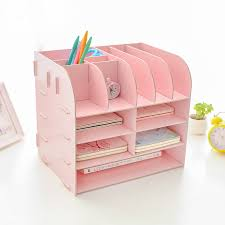 Pink Desk Organizers And Accessories Creative Storage Box Zakka Diy Wooden Shelf File Office