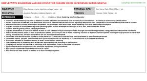 Production Operator Resume Sample by Wave Soldering Machine Operator Resume Sample