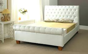King Size Leather Sleigh Bed White Leather Bed Frame Cool White Leather Sleigh Bed With Best
