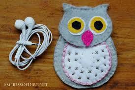 diy wool felt owl ear bud free pattern empress of dirt