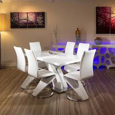 Contemporary Dining Set by Modern White Glass Dining Set Glass Top Table Plus Six White