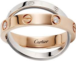 cartier love rings images Crb4094300 love ring 6 diamonds pink gold white gold png