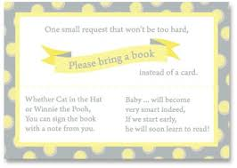 baby shower bring book instead of card poem to ask for book instead of card at baby shower free