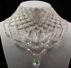 swarovski beaded necklace images Swarovski crystal silver czech glass pearl beaded wedding jpg