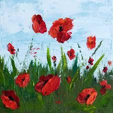freedom u201d 10 x 10 poppy field u2013 acrylic painting on canvas