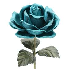 teal roses leather stem flower teal blue