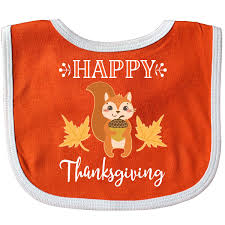 inktastic happy thanksgiving woodland squirrel baby bib