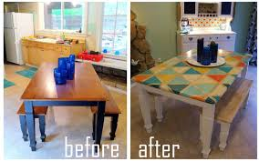 Kitchen Stencils Designs by Tile Tabletop Furniture Stencil Using A Stencil With Chalk Paint