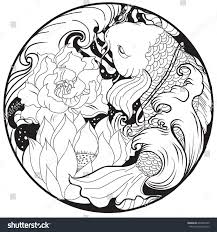 hand drawn asian tattoo design koi stock vector 640306195