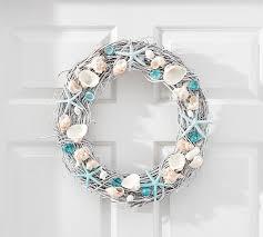 seashell wreath live dried blue seashell wreath pottery barn