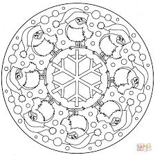 christmas mandala birds snowflake coloring