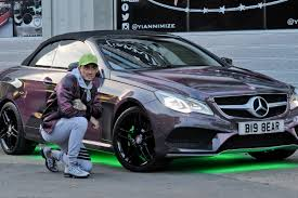 light pink mercedes stephen bear pimps up his mercedes benz with green neon lights