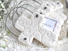 baptism ornament favors imprinted salt dough cross ornament wholesale baptism wedding
