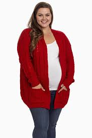 red cable knit plus size maternity cardigan