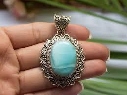 blue sterling silver necklace images Larimar pendant sterling silver necklace gemstone pendant gift jpg