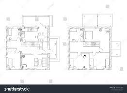 stock floor plans black white floor plans modern apartment stock vector 395941729