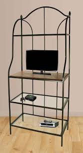 Wrought Iron Bakers Rack With Glass Shelves Bakers Rack With Glass And Wood