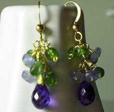 purple drop earrings purple zircon green gemstone earrings gold earrings vesuvianite