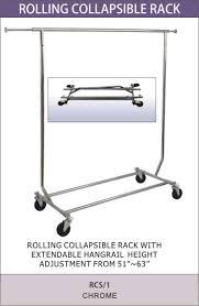 single collapsible garment racks at main display and fixtures