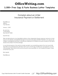 Business Letter Response complain about an unfair insurance payment or settlement http