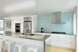 Painted Glass Backsplash Kitchen Modern With Recessed Lighting - Painted glass backsplash