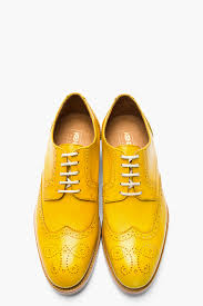 men u0027s metallic mustard yellow leather elliott wingtip brogues