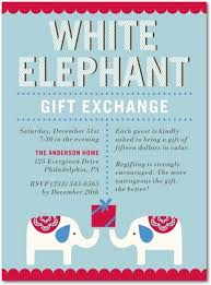 and classic white elephant gift exchange invite white
