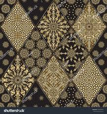 vector seamless patchwork pattern black gold stock vector