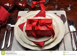 Romantic Table Settings Red Romantic Dinner Table Setting With Gift Stock Photo Image