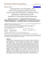 Reddy K Hen Development And Validation Of A Gas Chromatography Method For The