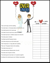 bridal shower game over or under bride trivia by