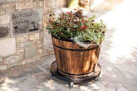 large round whiskey barrel planter