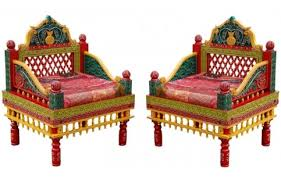 Indian Style - indian style carved rajasthani chair set 2 pcs handcrafted chairs