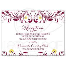 Wedding Reception Card Burgundy Yellow Floral Wedding Reception Insert Card