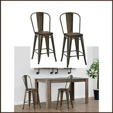 industrial rustic modern acacia wood counter height bar stools