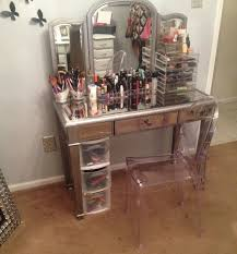 Lucite Vanity Table Accessories Contemporary Makeup Dressing Bedroom With Mirrored