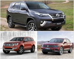 2016 toyota fortuner vs ford endeavour vs volkswagen tiguan spec